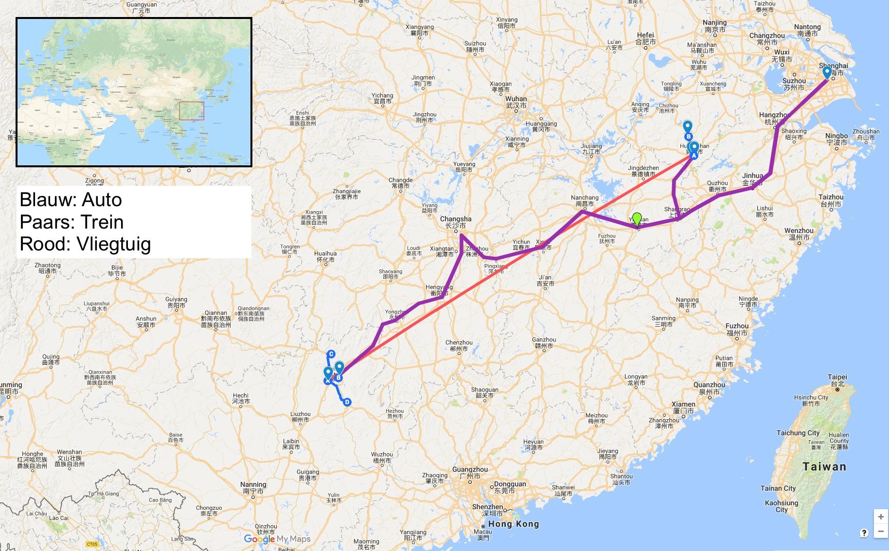 Kaart van de route